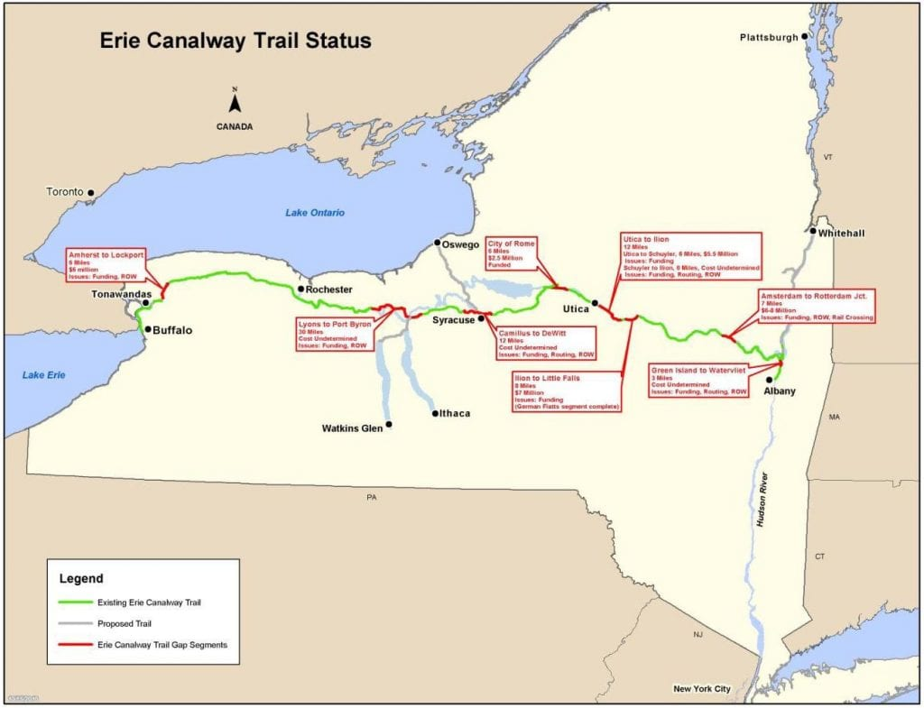 report progress in closing erie canal trail gaps the