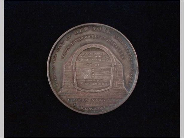 Croton Aqueduct commemorative medal, 1842. Silver; leather, cardboard, silk. INV.3693