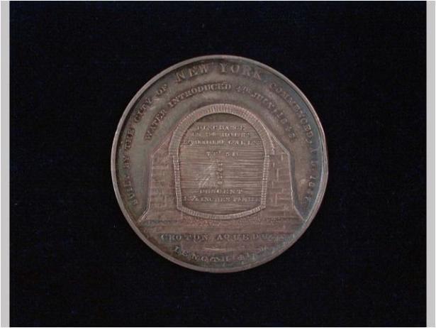 Croton Aqueduct commemorative medal, 1842. Silver; leather, cardboard, silk. INV.3693