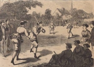 1868 Peterboro Women's Baseball Game, Courtesy National Baseball Hall of Fame Library