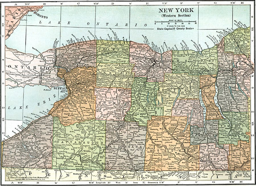 Erie County The New York History Blog - Ny map with counties and cities