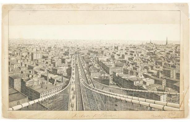 Charles Magnus & Company, View of Brooklyn from the Brooklyn Bridge, Brooklyn, New York, after 1883. New-York Historical Society, Gift of Daniel Parish, Jr.