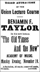 BF Taylor Ad 1883