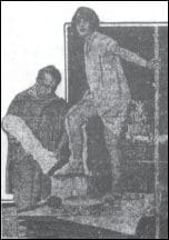Ethel Dale with sculptor 02