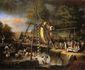 Peale 1806 painting - The Exhumation of the Mastadon