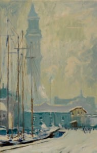 Arthur Clifton Goodwin, The Wharf and Custom House Tower, ca 1915