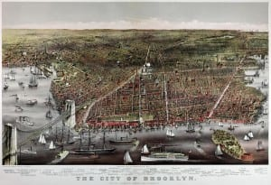 Currier and Ives print of Brooklyn, 1879