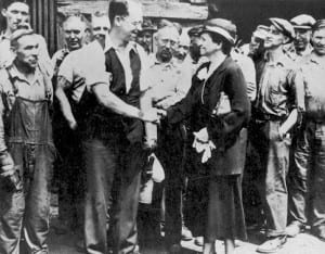 Frances Perkins meets with Carnegie Steel Workers in 1933