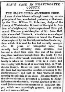 Westchester Slave Case 1857 (New York Times)