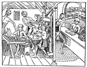 Dance Macabre dans l'Imprimerie by Mathias Huss, Lyon 1499