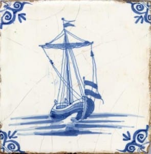 delft dutch tile with sloop