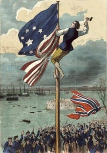 John Van Arsdale raising the american flag over Fort George