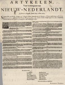 Articles about the Transfer of New Netherland on the 27th of August, Old Style, Anno 1664