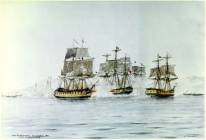 Saratoga (left) and Eagle (right) engaging Confiance at Battle of Plattsburgh
