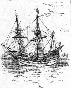 Half Moon Dutch Ship Sketch