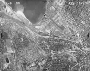 aerial photograph centered in Syracuse Onondaga County New York 1938