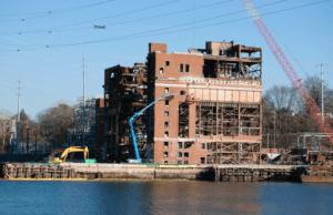 Glenwood Landing Power Plant during demolition, January  2015