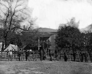 Federal soldiers at old Appotomox court house in April 1865