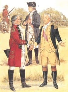Saratoga October 1777  - L to R Sir John Burgoyne, Benedict Arnold and Horatio Gates