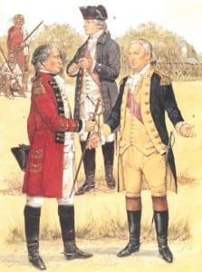 Saratoga October 1777  - L to R Sir John Burgoyne, Benedict Arnold and Horatio Gates