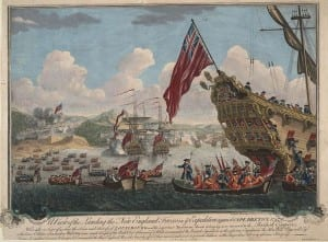 View of the English landing on the island of Cape Breton to attack the fortress of Louisbourg 1745 (1747)