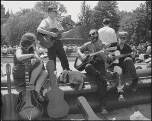 Washington Square Sunday folk singing early 1960s Museum of City of New York gift of Nat Norman