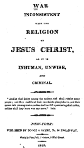 1815 title page of War Inconsistent with the Religion of Jesus Christ