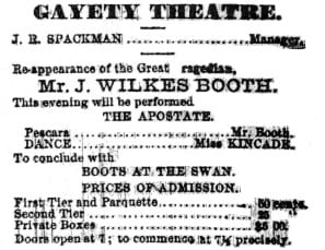 February 18, 1861 advertisement for New Gayety Theater in Albany Evening Journal