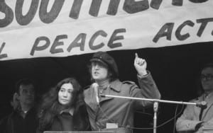 Former Beatle John Lennon and Yoko Ono at a peace rally in Bryant Park on April 22, 1972