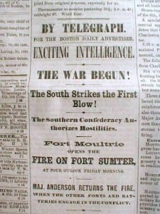 Fort Sumter Newspaper Headline