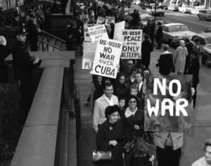 Peace marchers in New York City during the Cuban missile crisis
