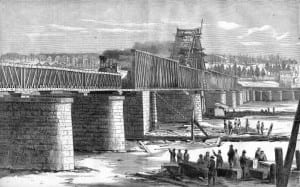 Railroad bridge at Albany used by troop trains during the Civil War