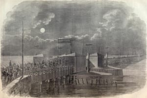 Union soldiers cross the Long Bridge during the occupation of northern Virginia