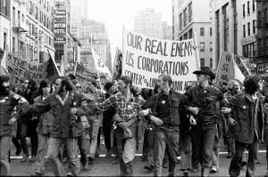 Vietnam Veterans Against the War take part in an anti-war march in New York