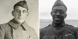 William Shemin, left, and Pvt Henry Johnson