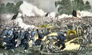lithograph of the Battle of Gettysburg from the Library of Congress