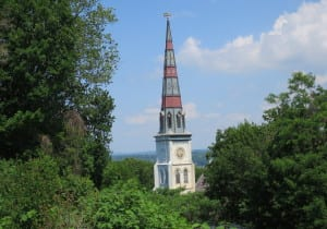 Church steeple with Mary Power steamship weathervane, seen from President's Place.