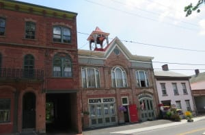 Rondout's First Firehouse, repurposed as an art gallery and flower shop.