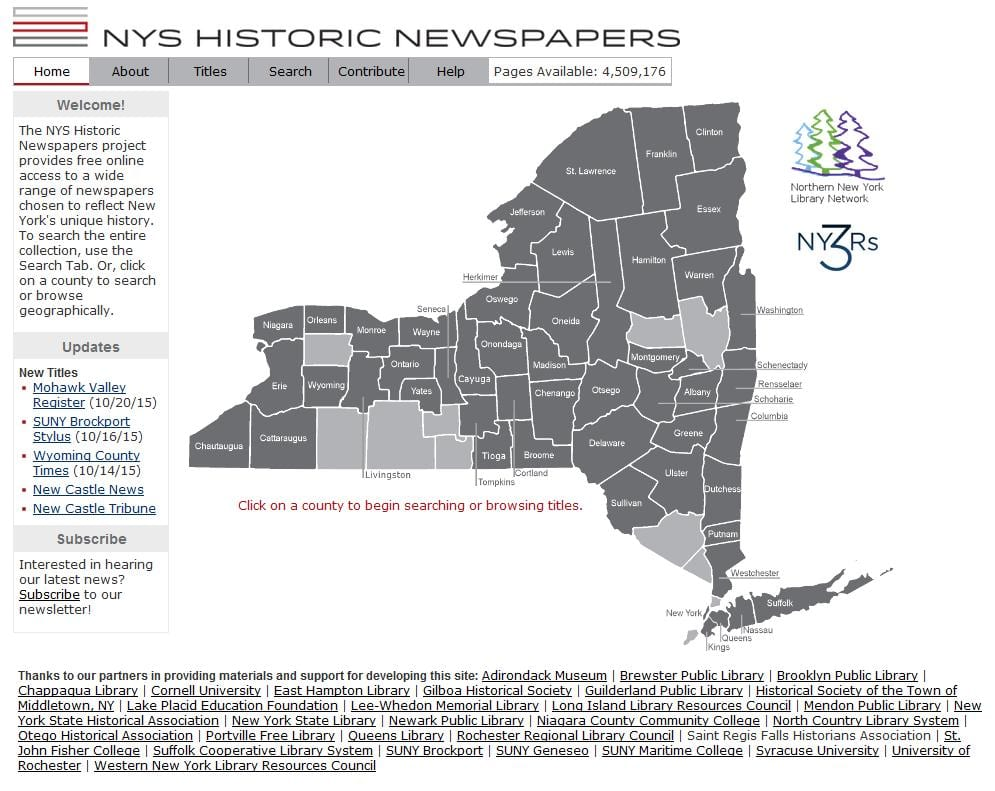 NYS History Resource: Old Newspapers Online - The New York ...