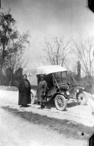 "Gertrude Stein & Alice B. Toklas as volunteer drivers, with their Ford ""Auntie"""