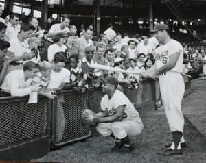 Roy Campanella With Baseball Fans