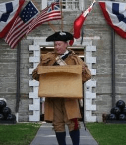 Historian Jeff O'Connor reading the Declaration of Independence at the Old Stone Fort.