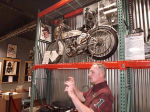 Volunteer, Bill Nugent, explains how Hollywood used bikes
