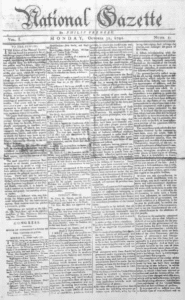 National Gazette Newspaper from 1791
