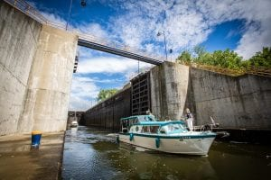 boat exits lock 2 on the erie canal in waterford