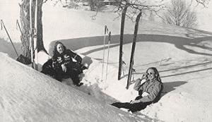 A publicity shot of the Christmas Hills ski area in Livingston Manor from circa 1950.