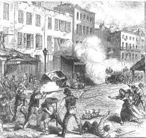 A drawing from a British newspaper showing armed rioters clashing with Union soldiers in New York.