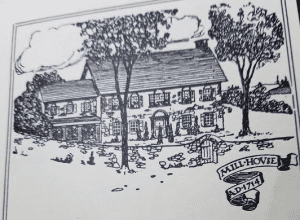 Drawing of the Mill House taken from Dard Hunter's ad in the New York Times