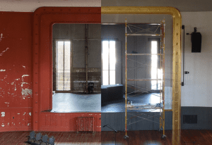 Proscenium stage before and after