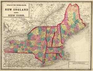 New England and New York Map